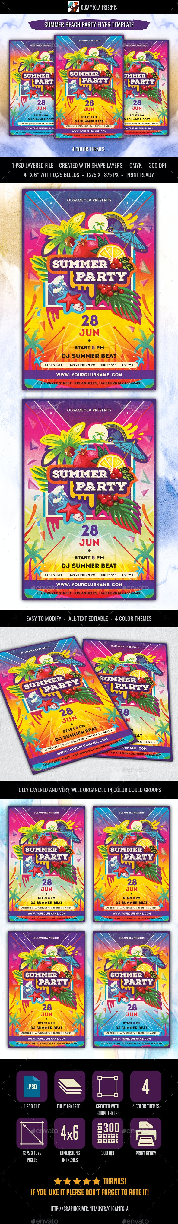 Summer Beach Party Flyer Template - Clubs & Parties Events
