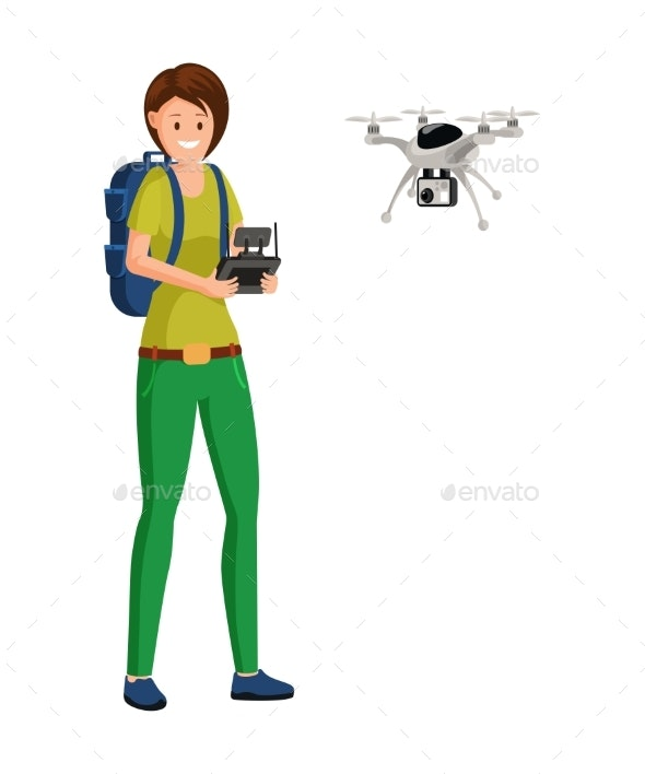 Drone Pilot Job Flat Vector Illustration - Industries Business