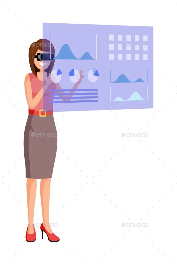 Augmented Reality Flat Vector Illustration - Computers Technology
