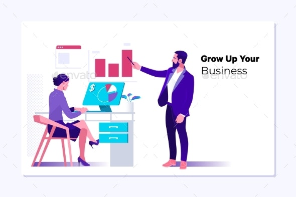 Vector Web Page Design Template of Business - Concepts Business