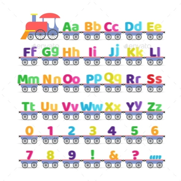 Cartoon Boat Train Carrying Letters - Miscellaneous Vectors