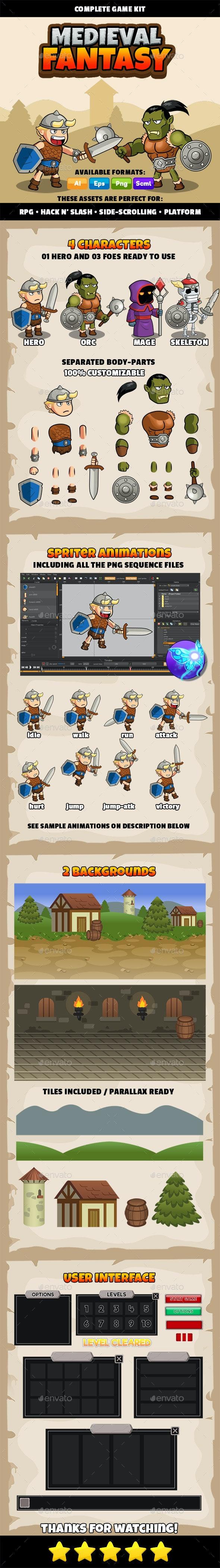 Medieval Fantasy - Complete Game Kit - Game Kits Game Assets