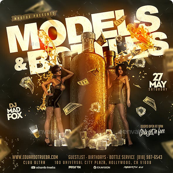 Models & Bottles Party Flyer