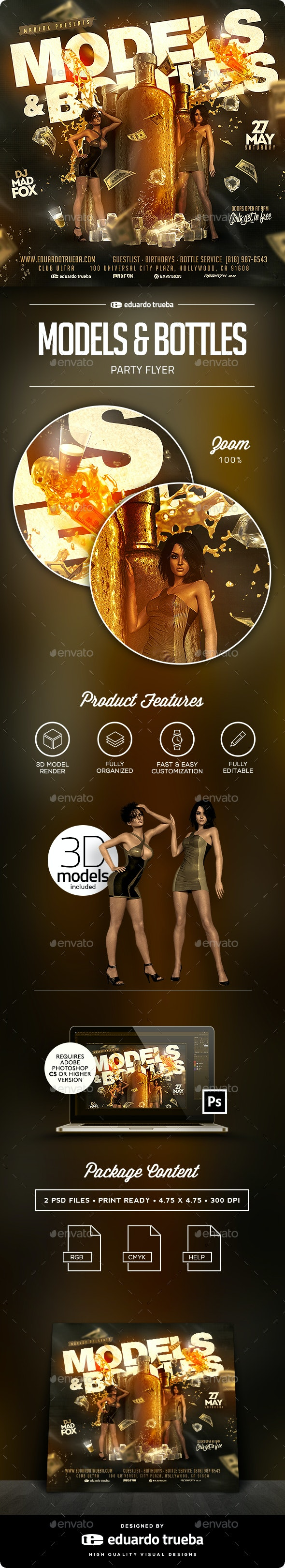 Models & Bottles Party Flyer - Clubs & Parties Events