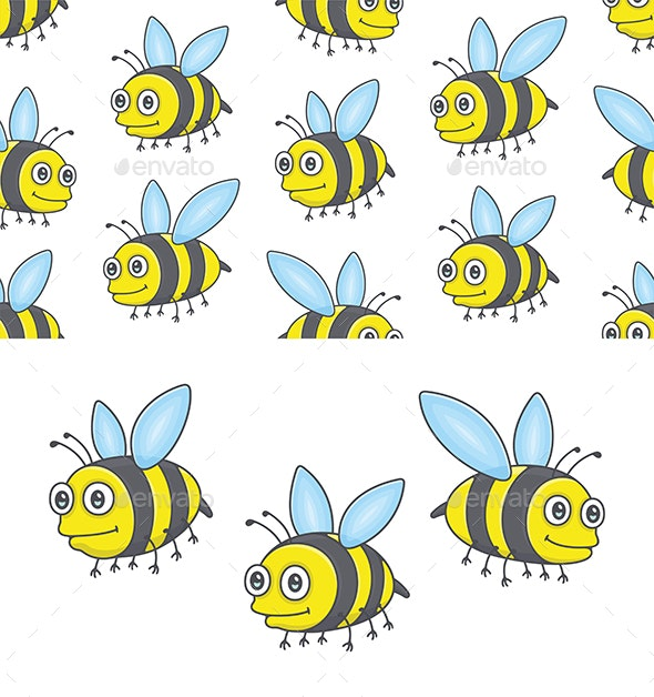 Set of Bees and Pattern - Animals Characters