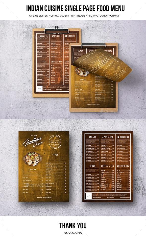 Indian Cuisine A4 & US Letter Single Page Menu - Food Menus Print Templates