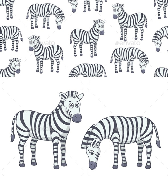 Set of Zebras and Pattern - Animals Characters