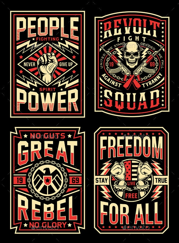 Vintage Propaganda T-Shirt Designs Collection - Decorative Symbols Decorative