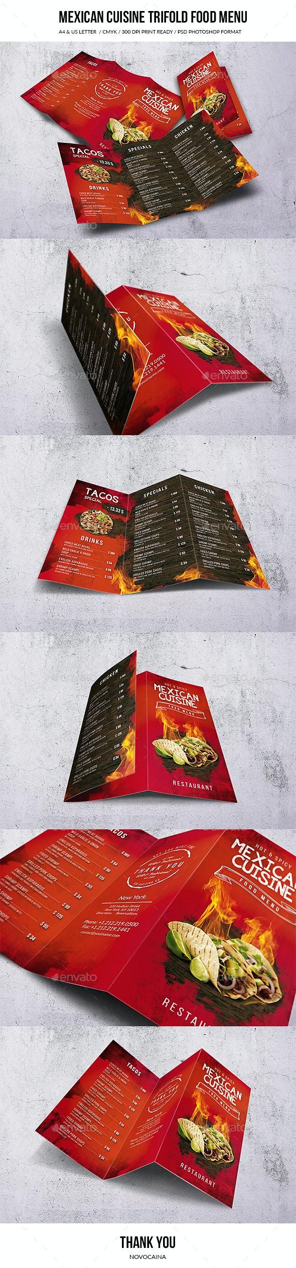 Mexican Cuisine A4 & US Letter Trifold Food Menu - Food Menus Print Templates