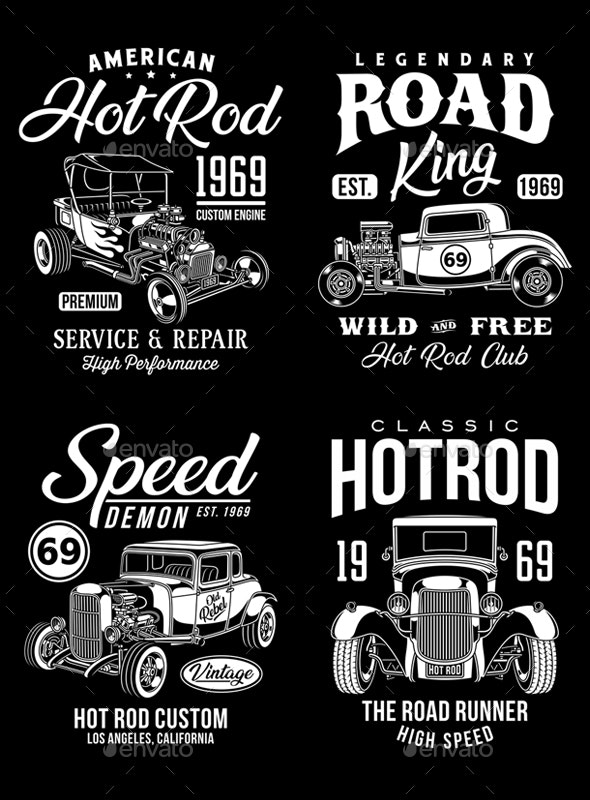 Vintage Hot Rod Graphic T-Shirts Collection - Man-made Objects Objects