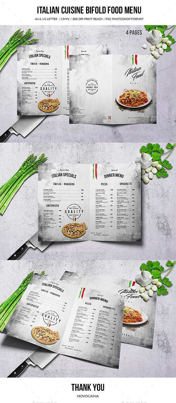Italian Cuisine A4 & US Letter Bifold Food Menu - Food Menus Print Templates