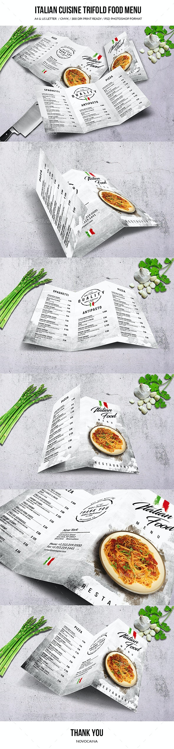 Italian Cuisine A4 & US Letter Trifold Menu - Food Menus Print Templates