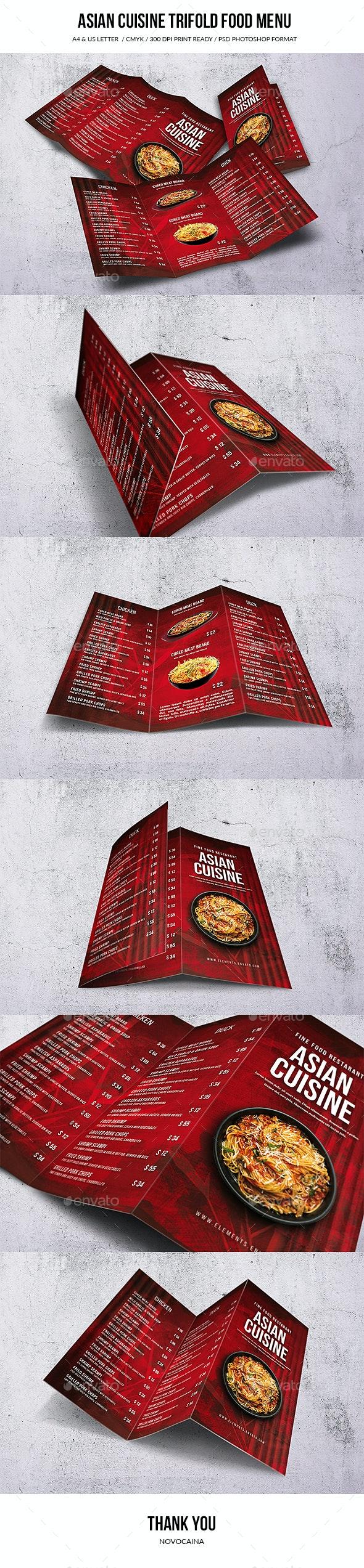 Asian Cuisine A4 & US Letter Trifold Food Menu - Food Menus Print Templates
