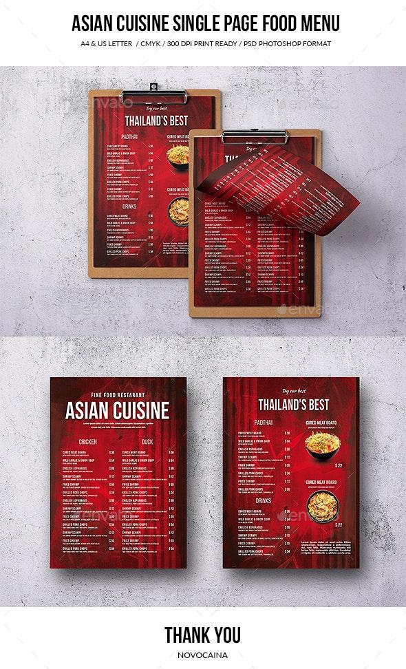 Asian Cuisine A4 & US Letter Single Page Menu - Food Menus Print Templates