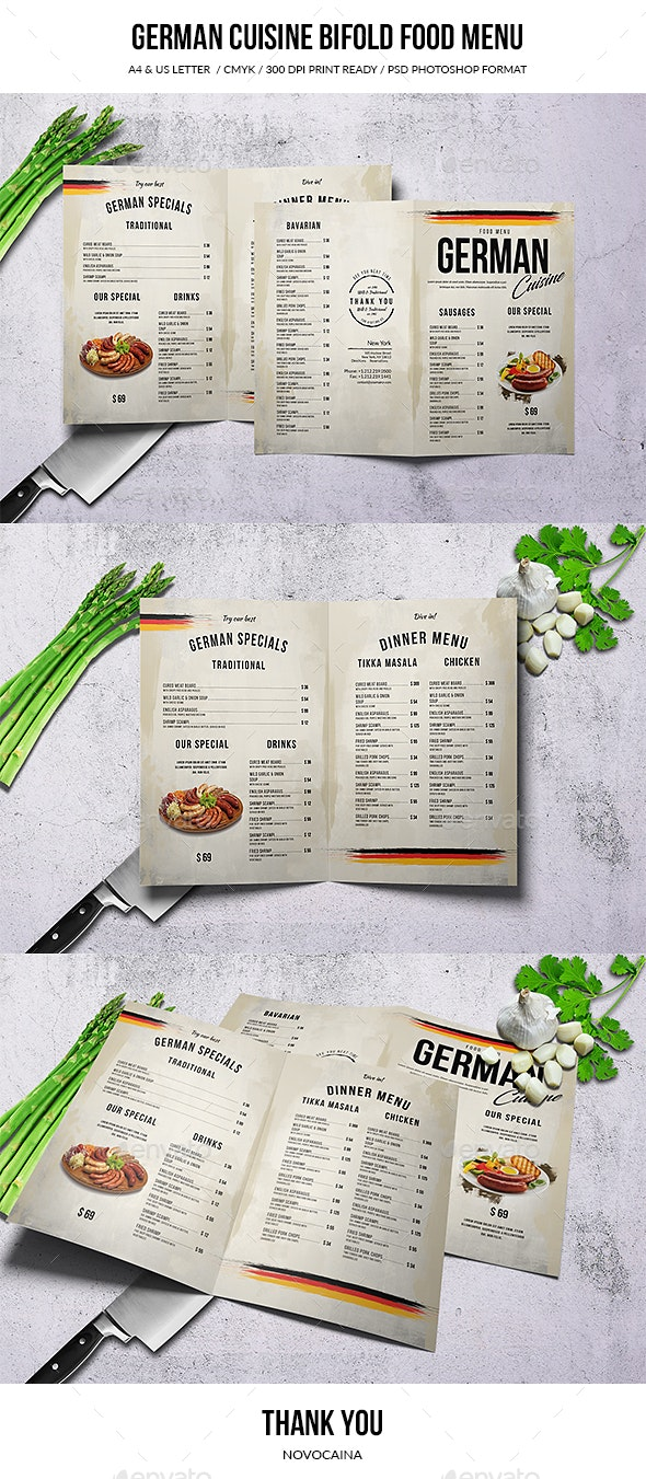 German Cuisine A4 & US Letter Bifold Food Menu - Food Menus Print Templates