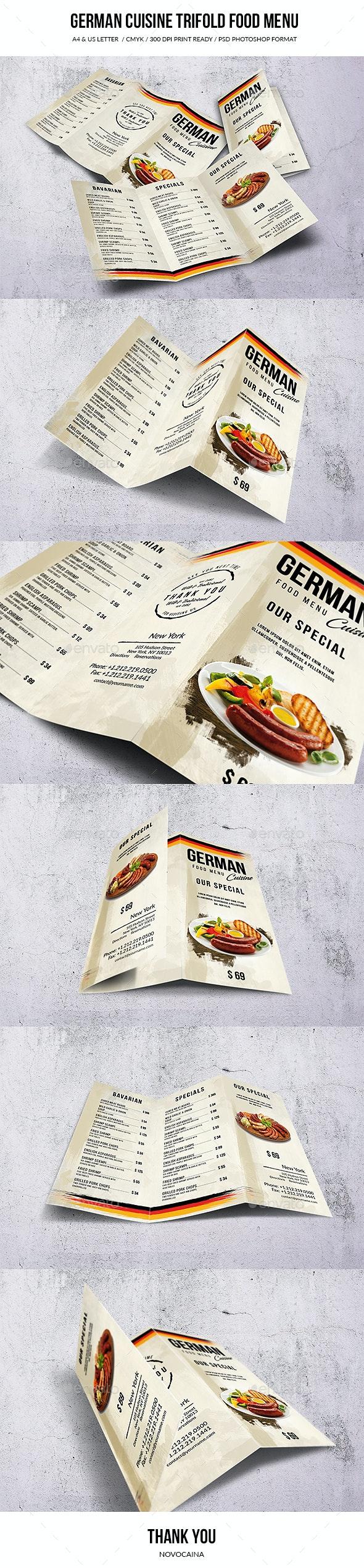 German A4 & US Letter Trifold Food Menu - Food Menus Print Templates