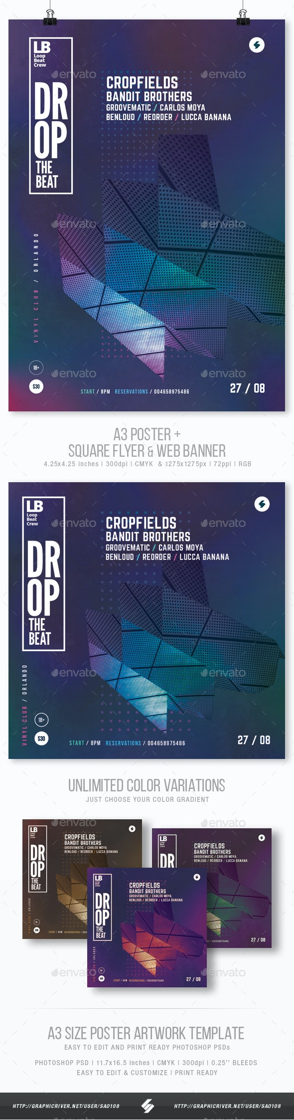 Drop The Beat - Club Party Flyer / Poster Template A3 - Clubs & Parties Events