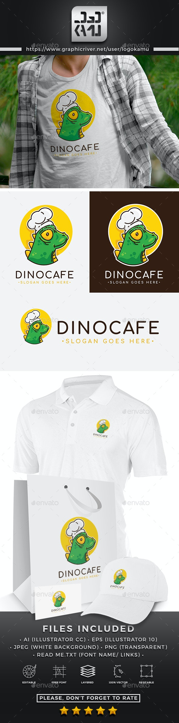 Dinosaurs Restaurant Logo - Animals Logo Templates