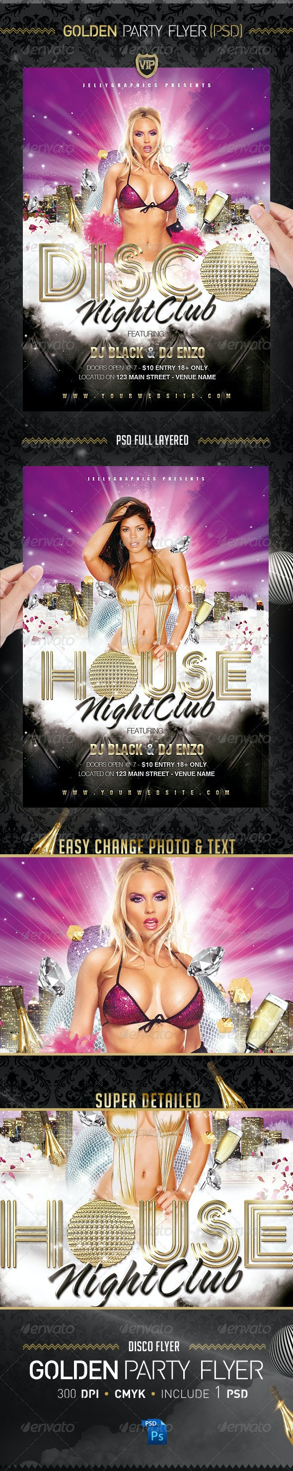 Golden Party Night Flyer Template - Flyers Print Templates