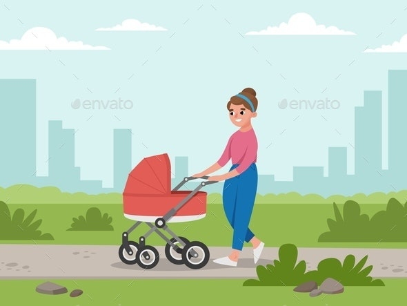 Mom and baby in baby carriage. Young Girl walking in the Park on background of building - People Characters