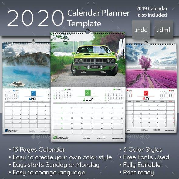 2020 Wall Calendar Planner Template