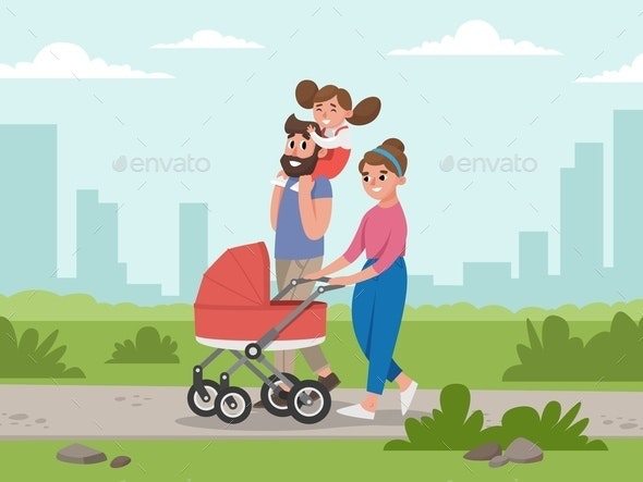 Cute young family for walk. Mom, dad, daughter and baby in baby carriage - People Characters