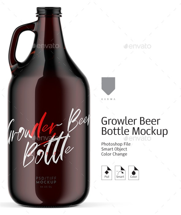 Growler Beer Bottle Mockup - Product Mock-Ups Graphics