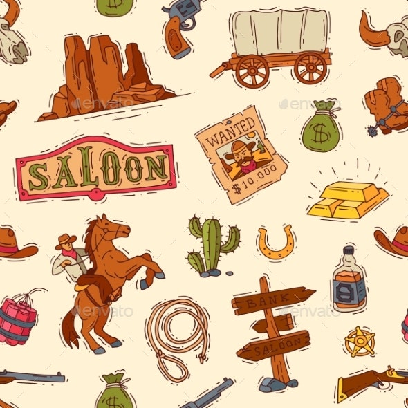 Wild West Vector Western Cowboy or Sheriff - Backgrounds Decorative