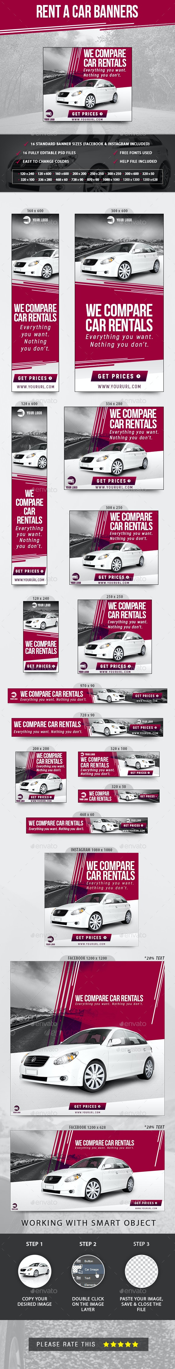 Rent A Car Banners - Banners & Ads Web Elements
