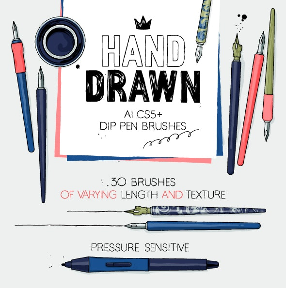 AI dip pen brushes - Brushes Illustrator