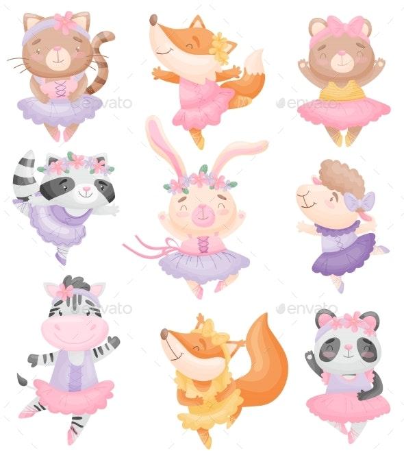 Animals in Ballerina Dresses. Vector - Animals Characters