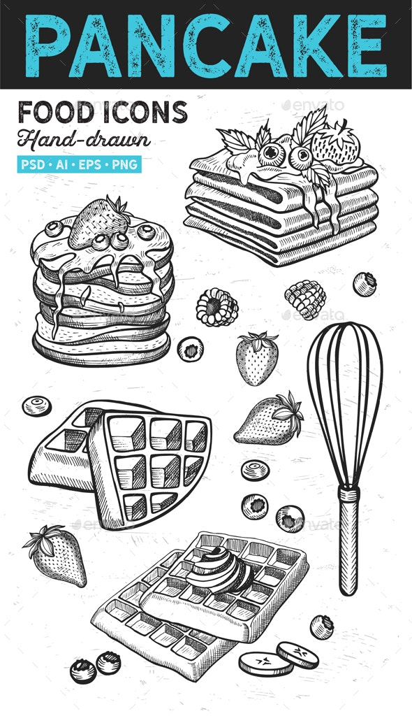 Pancakes Waffles Hand-Drawn Graphic - Food Objects