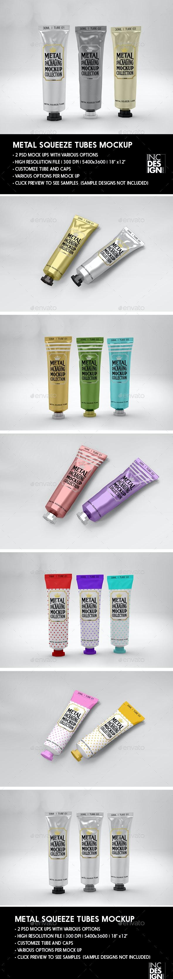 Metal Squeeze Tubes Packaging Mockup - Packaging Product Mock-Ups