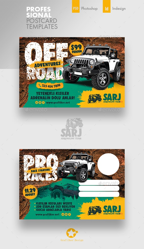 Off-Road Adventure Postcard Templates - Cards & Invites Print Templates
