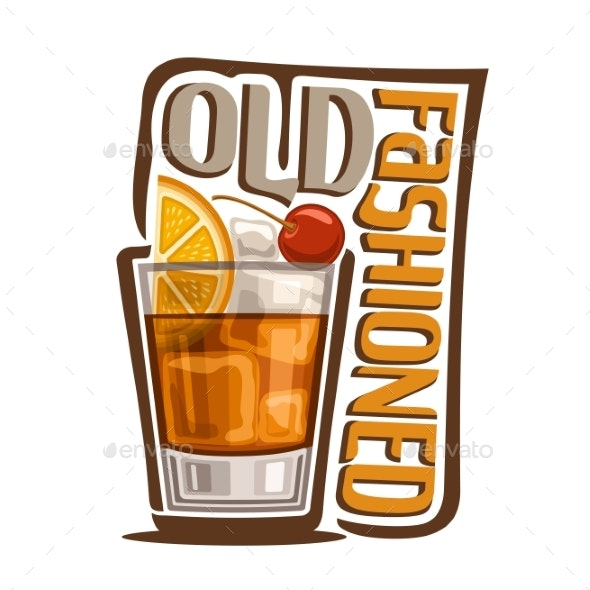 Vector Cocktail Old Fashioned - Food Objects