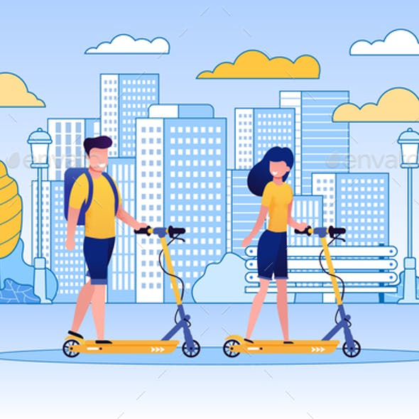 Couple Riding Scooters in Park