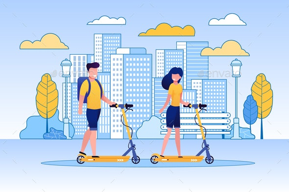 Couple Riding Scooters in Park - Miscellaneous Vectors