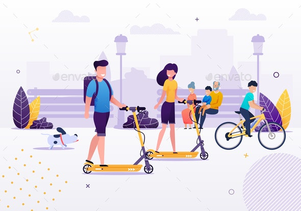 Cartoon Couple Riding Scooters in Park with Dog - Miscellaneous Vectors