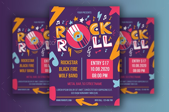 Rock 'n' Roll Poster With Vinyl - Clubs & Parties Events