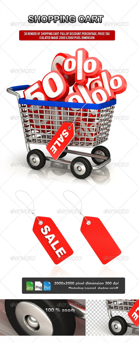 Shopping Cart Discount  - Objects 3D Renders