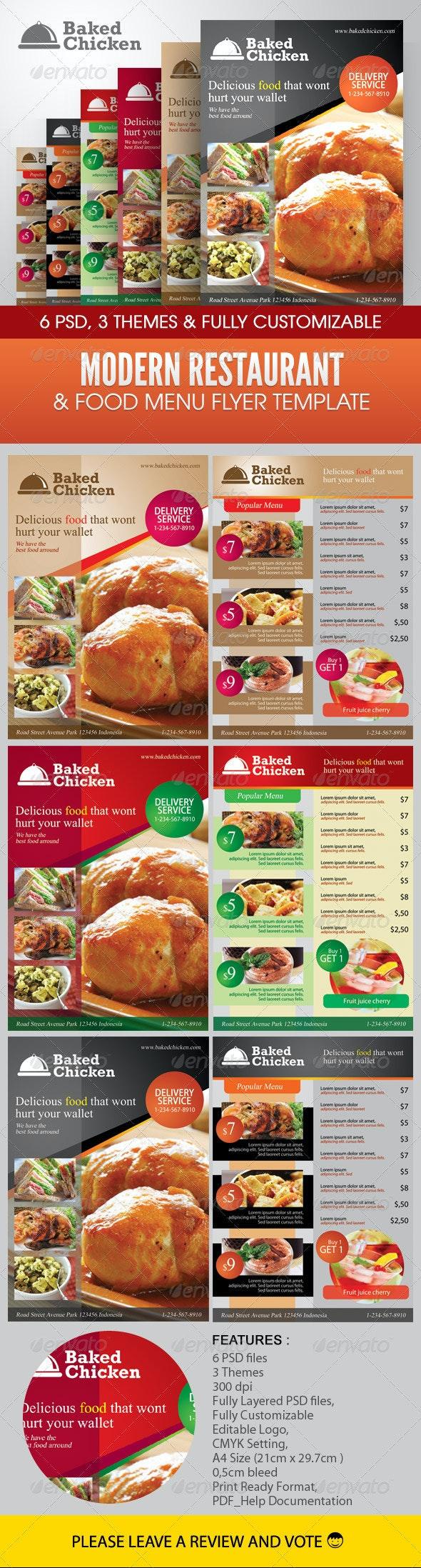 Modern Restaurant Food Menu Flyer Template - Food Menus Print Templates