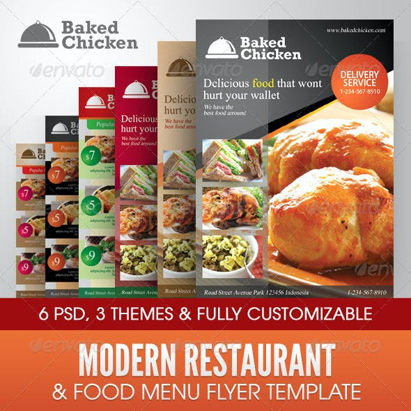 Modern Restaurant Food Menu Flyer Template