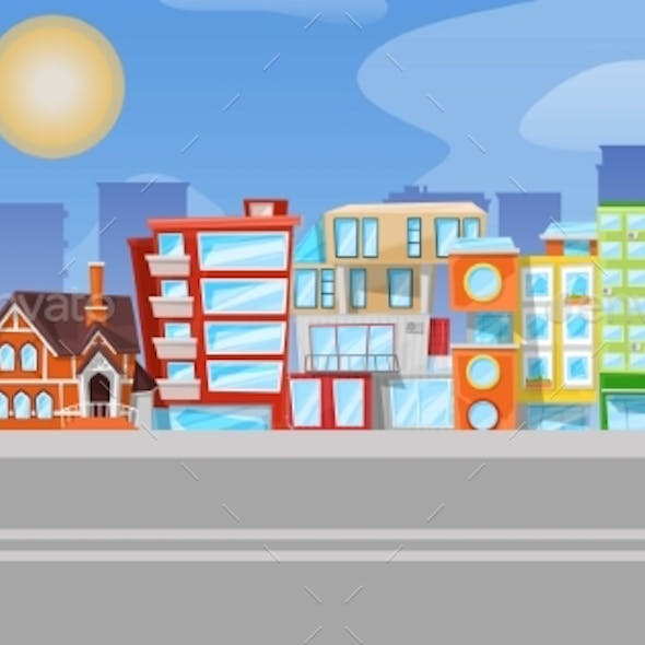 Vector Flat Cartoon Urban Panorama - Cityscape