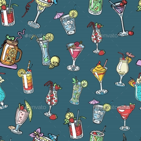 Seamless Pattern Background with Alcohol Cocktail - Food Objects