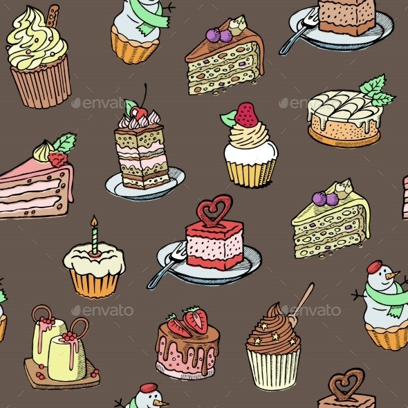 Cupcakes Seamless Vector Pattern Sketch Style - Food Objects