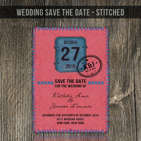 Wedding Save The Date - Stitched