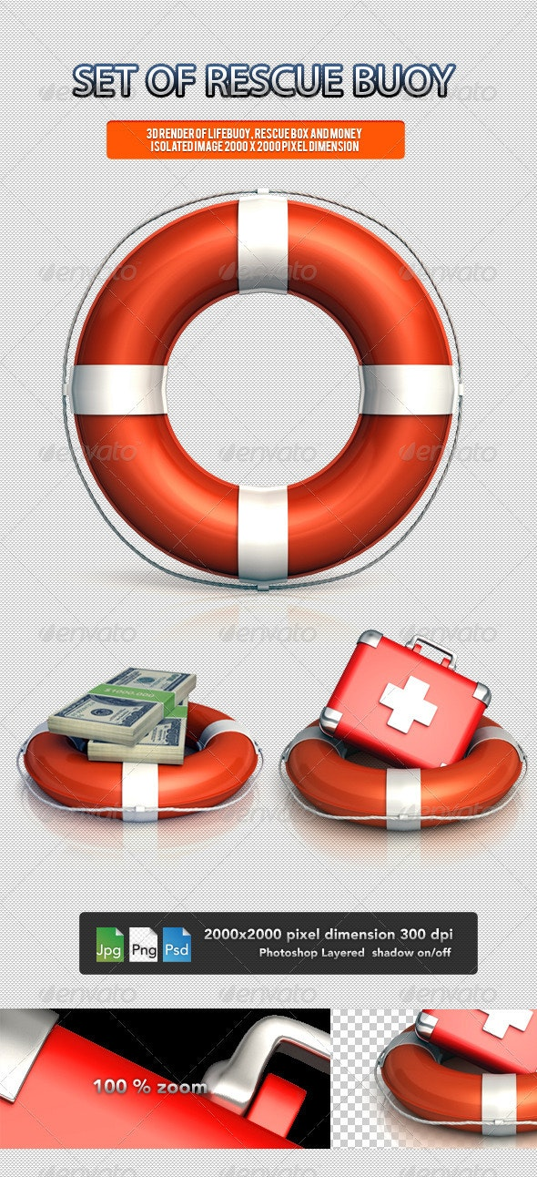 Set of Rescue Buoy - Objects 3D Renders