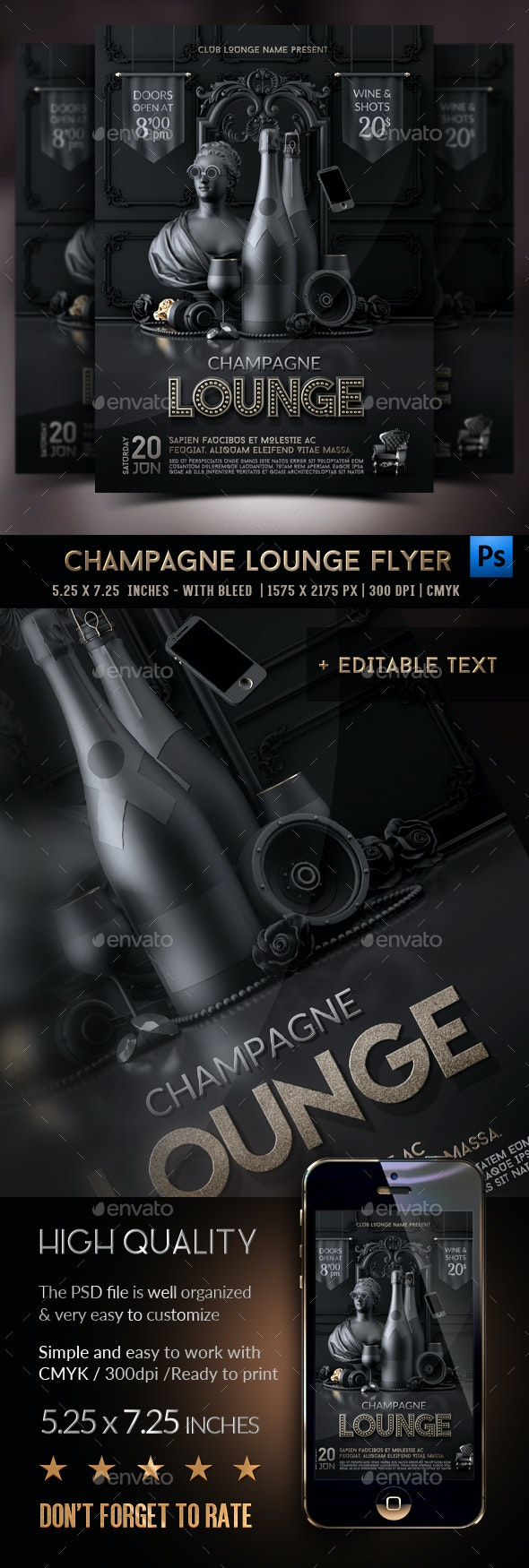 Champagne Vip Lounge Flyer - Clubs & Parties Events