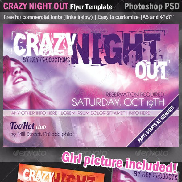 CrazyNightOut Flyer Template - Picture Included