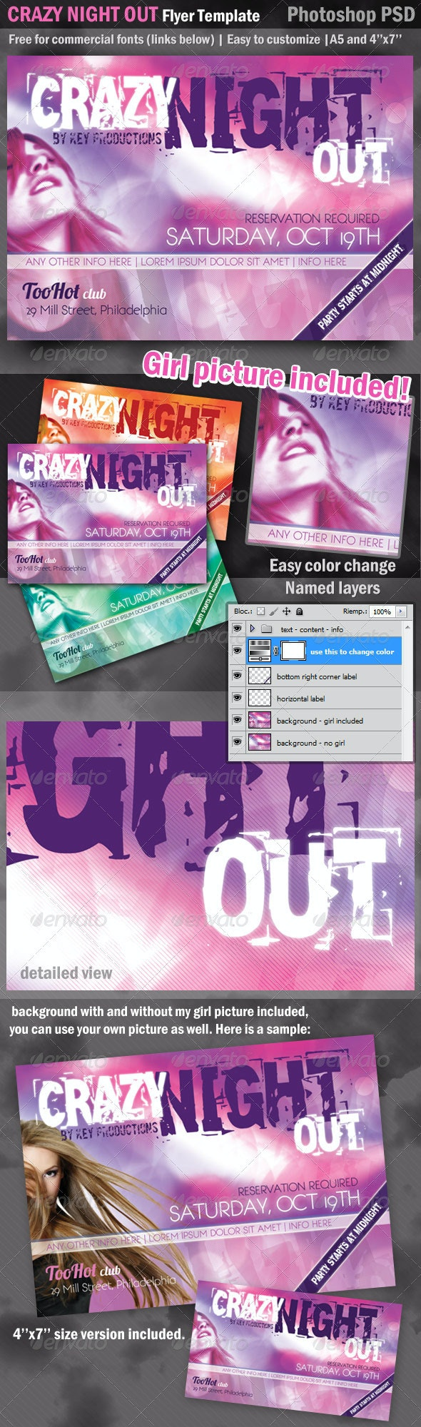 CrazyNightOut Flyer Template - Picture Included - Clubs & Parties Events
